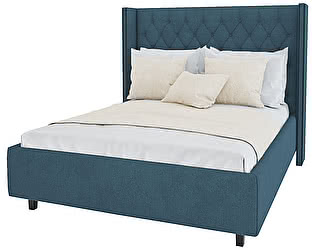 Кровать с декоративными гвоздиками DG-Home Wing 160х200 Велюр Морская волна