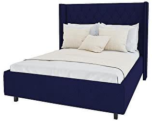 Кровать с декоративными гвоздиками DG-Home Wing 160х200 Велюр Синий