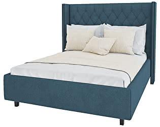 Кровать с декоративными гвоздиками DG-Home Wing 200х200 Велюр Морская волна