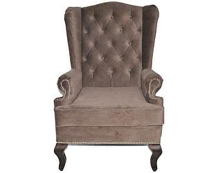 Каминное кресло DG-Home с ушами Велюр Серо-коричневый
