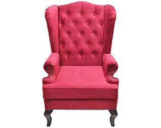Каминное кресло DG-Home с ушами Велюр Красный