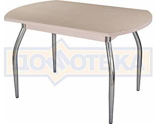 Стол кухонный Домотека Альфа ПО КМ 06 (6) МД 01 молочный дуб песочный камень