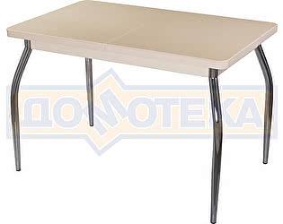Стол кухонный Домотека Альфа ПР КМ 06 (6) МД 01 бежевый ножки хром