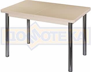Стол кухонный Домотека Альфа ПР КМ 06 (6) МД 02 бежевый ножки хром прямые