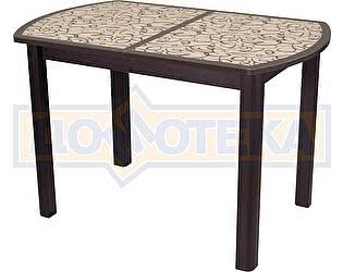 Купить стол Домотека Гамма ПО ВН ст-2 ВН/КР 04 ВН венге, стекло с узором, ножки венге