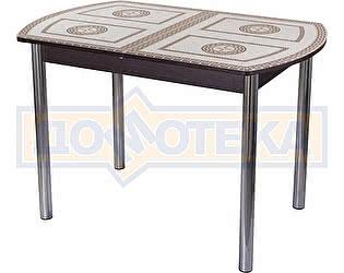 Купить стол Домотека Гамма ПО ВН ст-71 02 венге с греческим орнаментом, ножки хром прямые