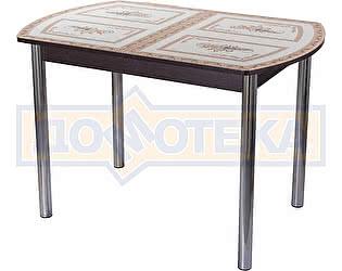 Купить стол Домотека Гамма ПО ВН ст-72 02 венге с растительным узором, ножки хром прямые