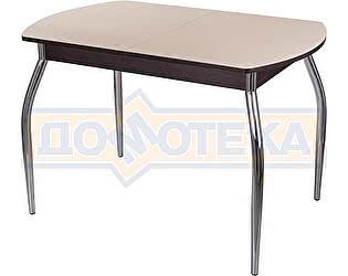 Стол кухонный Домотека Гамма ПО ВН ст-КР 01 венге, стекло кремовое, ножки хром