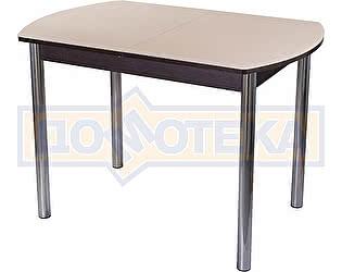 Стол кухонный Домотека Гамма ПО ВН ст-КР 02 венге, стекло кремовое, ножки хром прямые