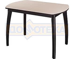 Стол кухонный Домотека Гамма ПО ВН ст-КР 07 ВН венге, стекло кремовое, ножки венге фигурные