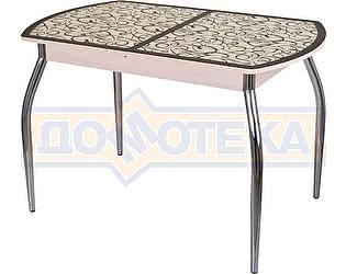 Стол кухонный Домотека Гамма ПО МД ст-2 ВН/КР 01 бежевый, стекло с узором венге/крем, ножки хром