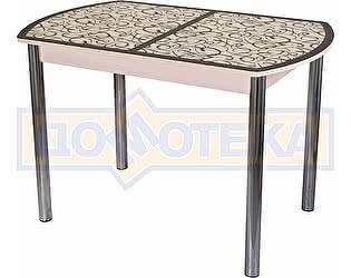 Стол кухонный Домотека Гамма ПО МД ст-2 ВН/КР 02 бежевый, стекло с узором венге/крем, ножки хром пря