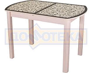 Стол кухонный Домотека Гамма ПО МД ст-2 ВН/КР 04 МД бежевый, стекло с узором венге/крем, ножки бежев