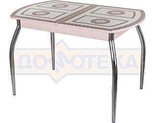 Стол кухонный Домотека Гамма ПО МД ст-71 01 бежевый с греческим орнаментом, ножки хром