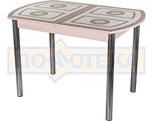 Стол кухонный Домотека Гамма ПО МД ст-71 02 бежевый с греческим орнаментом, ножки хром прямые