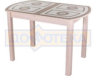 Стол кухонный Домотека Гамма ПО МД ст-71 04 МД бежевый с греческим орнаментом, ножки бежевые