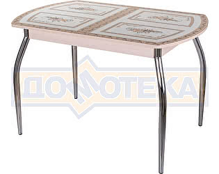 Стол кухонный Домотека Гамма ПО МД ст-72 01 бежевый с растительным орнаментом, ножки хром