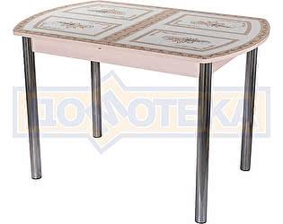 Стол кухонный Домотека Гамма ПО МД ст-72 02 бежевый с растительным орнаментом, ножки хром прямые