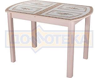 Стол кухонный Домотека Гамма ПО МД ст-72 04 МД бежевый с растительным орнаментом, ножки бежевые