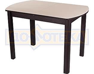 Купить стол Домотека Гамма ПО-1 ВН ст-КР 04 ВН венге, стекло крем, ножки венге прямые