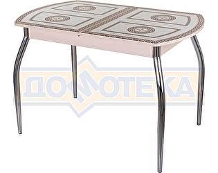 Купить стол Домотека Гамма ПО-1 МД ст-71 01 бежевый, греческий орнамент, ножки хром