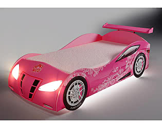 Кровать-машина Фанки Кидз Ниссан D08 (розовый с узором)