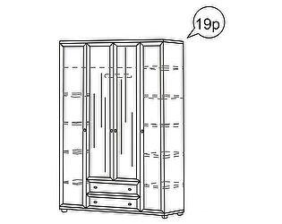 Шкаф Ника-Люкс 4-х дверный для одежды АРТ 19р