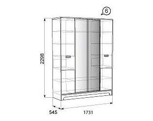 Шкаф для платья и белья 4х дверный 06 Терра-Люкс Ижмебель