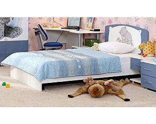 Кровать (120) с декоративной накладкой Ижмебель Бьянка АРТ 5 (сизый/мишка)