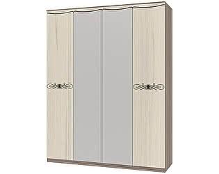 Шкаф 4х дверный для платья и белья Интеди Жасмин, ИД 01.384