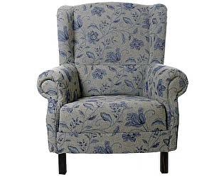 Кресло Цветы прованса (серое с синим цветами)