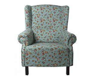Кресло голубое с мелким цветочным орнаментом Цветы Прованса