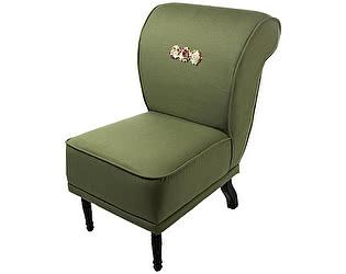 Кресло-волна малое болотного цвета, декорированное розами Цветы Прованса