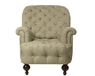Кресло серое с каретной стяжкой Розы Прованса