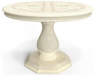 Стол круглый Луи Дюпон Роза Беж 114(164)х114х76