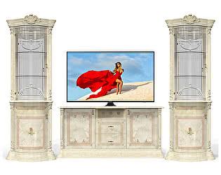 Телевизионная группа с тумбой ТВ и витринами Луи Дюпон Роза Беж