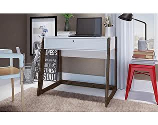 Стол компьютерный MANHATTAN COMFORT Salvador white/tobacco  Белый, деревянные ножки