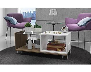 Стол MANHATTAN COMFORT Boden oak/white Дуб/белый