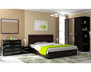 Модульная спальня Стиль Луиза МДФ Венге + Чёрный металлик + Коричневый кайман
