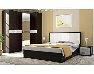 Модульная спальня Стиль Луиза МДФ Венге + Белый металлик + Белый кайман