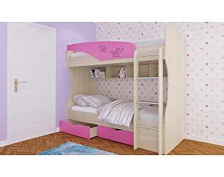 Кровать Московский Дом Мебели Британика КР-404 двухъярусная 90, розовая
