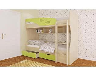 Кровать Московский Дом Мебели Британика КР-404 двухъярусная 90, зеленая