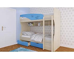 Кровать Московский Дом Мебели Британика КР-404 двухъярусная 90, голубая