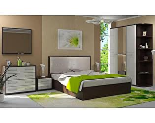 Модульная спальня Стиль Луиза МДФ Белый металлик + Белый кайман