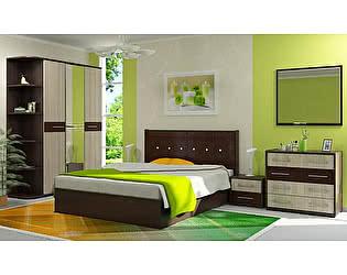 Модульная спальня Стиль Луиза ЛДСП Шимо светлый + 3D Коричневый кайман
