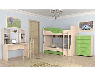 Модульная детская Московский Дом Мебели Британика, зеленый металлик