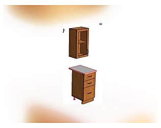 Секция Стиль шкаф + стол 3 ящика (0,5 м) МДФ