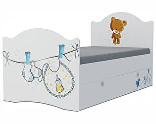 Детская кровать Klukva Мишка boy Эксклюзив KХ-16Y (ящик ЛДСП выкатной)