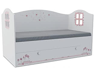 Детская кровать Klukva Мишка girl Домик KD-16Y  (ящик ЛДСП выкатной)