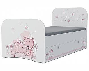 Детская кровать Klukva Мишка girl Стандарт KE-16Y(ящик ЛДСП выкатной)